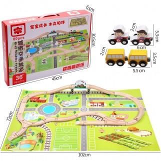 Žaislinė medinė eismo trasa